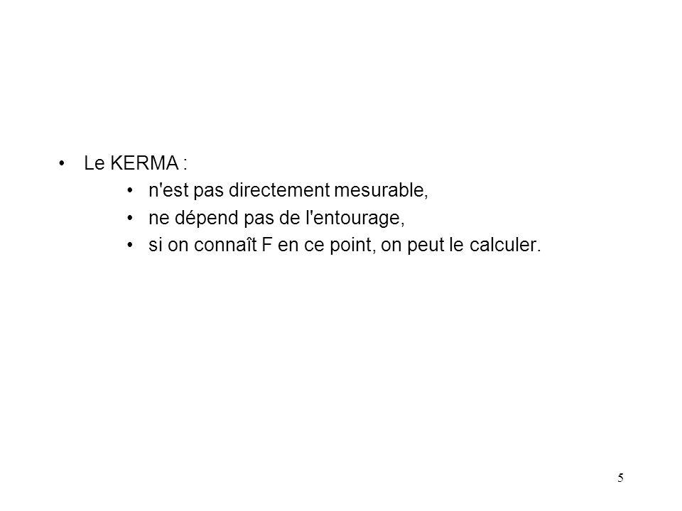 Le KERMA : n est pas directement mesurable, ne dépend pas de l entourage, si on connaît F en ce point, on peut le calculer.