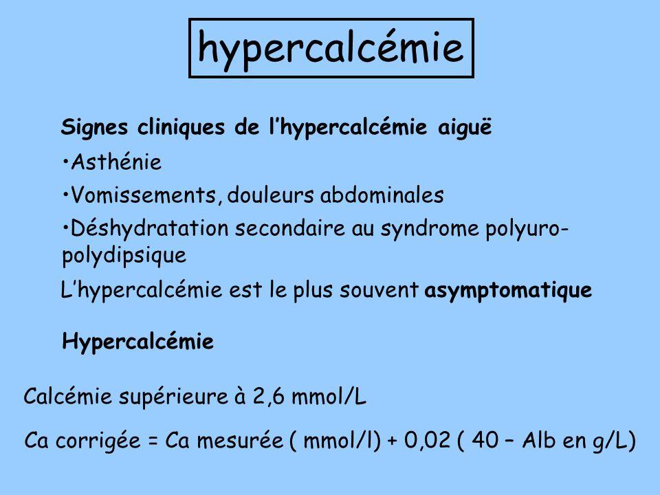 hypercalcémie Signes cliniques de l'hypercalcémie aiguë Asthénie