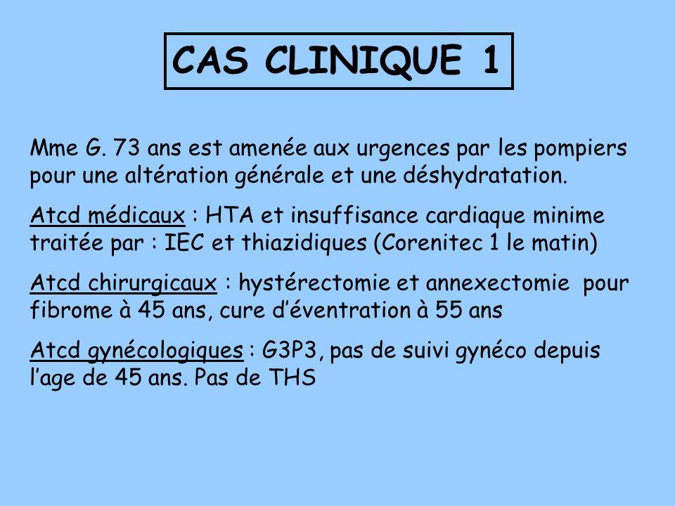 CAS CLINIQUE 1 Mme G. 73 ans est amenée aux urgences par les pompiers pour une altération générale et une déshydratation.