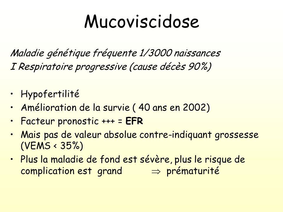Mucoviscidose Maladie génétique fréquente 1/3000 naissances