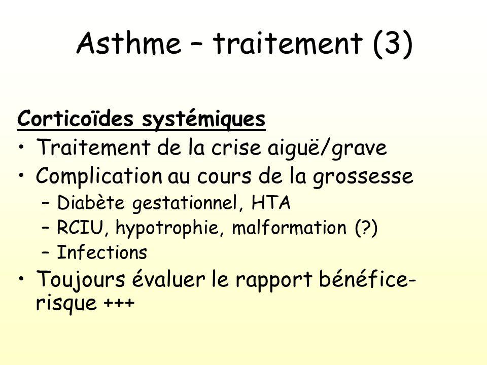 Asthme – traitement (3) Corticoïdes systémiques