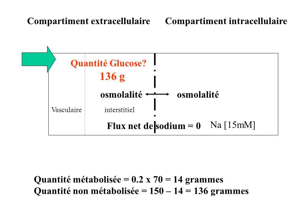 136 g Compartiment extracellulaire Compartiment intracellulaire