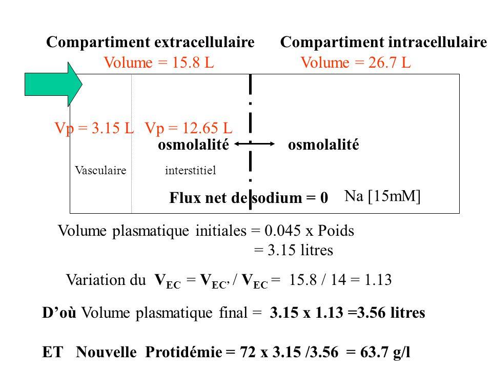 Compartiment extracellulaire Compartiment intracellulaire