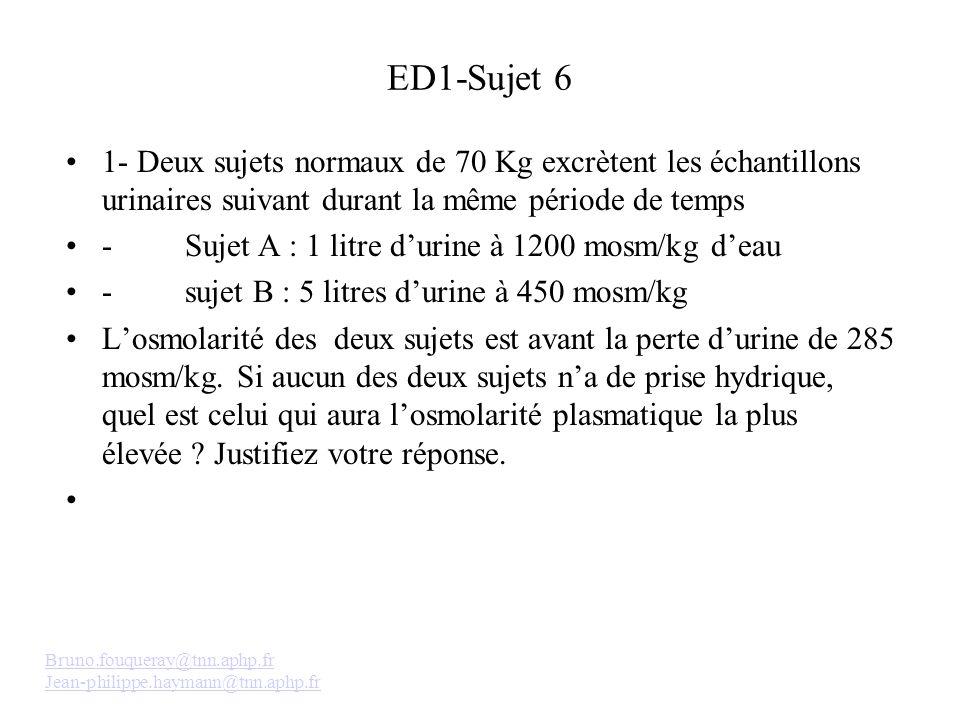 ED1-Sujet 6 1- Deux sujets normaux de 70 Kg excrètent les échantillons urinaires suivant durant la même période de temps.