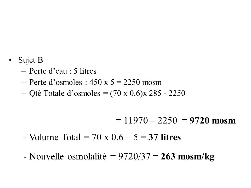 - Volume Total = 70 x 0.6 – 5 = 37 litres
