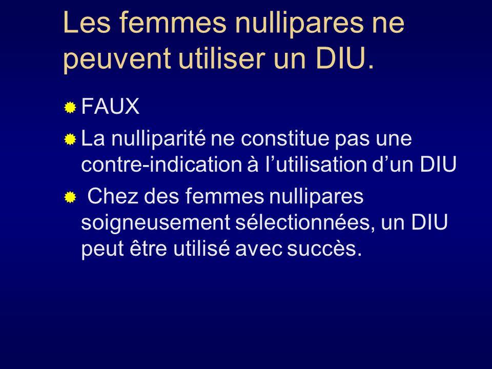 Les femmes nullipares ne peuvent utiliser un DIU.