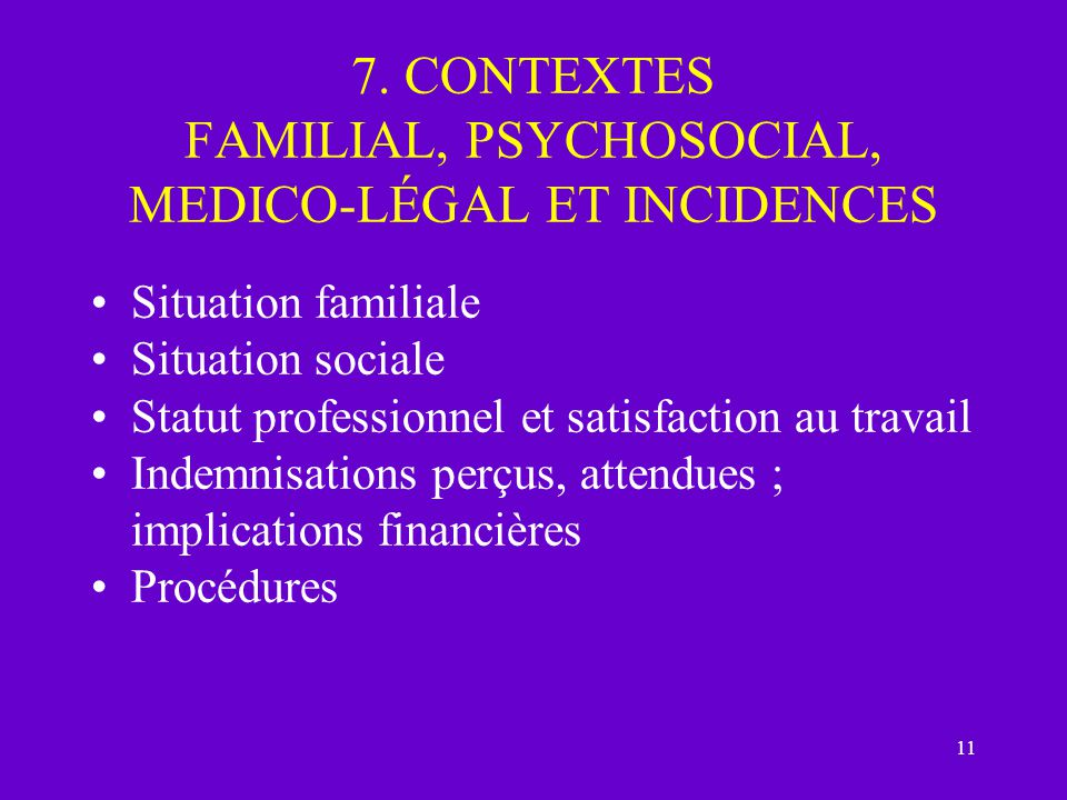 7. CONTEXTES FAMILIAL, PSYCHOSOCIAL, MEDICO-LÉGAL ET INCIDENCES
