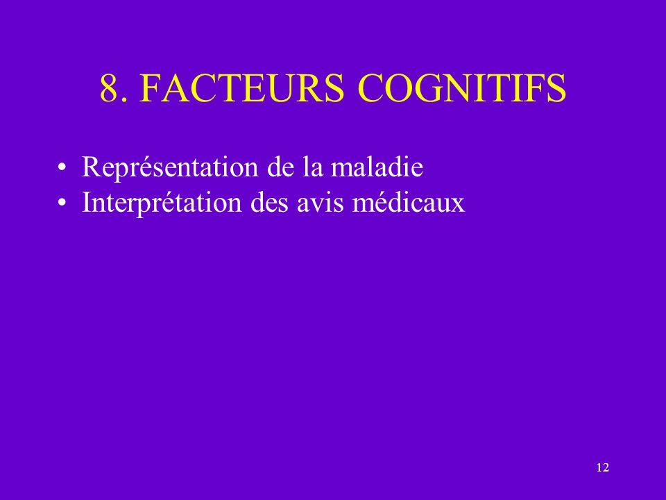 8. FACTEURS COGNITIFS Représentation de la maladie