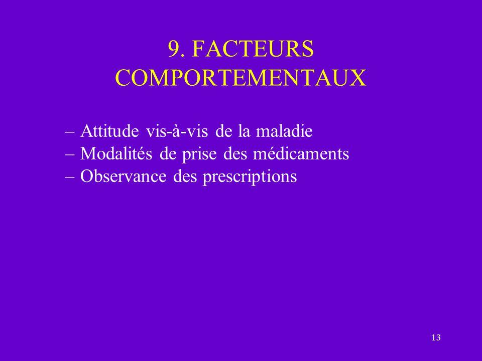 9. FACTEURS COMPORTEMENTAUX
