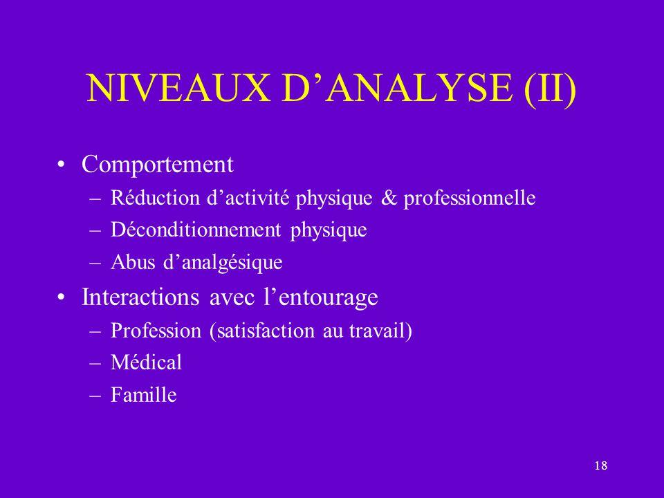 NIVEAUX D'ANALYSE (II)