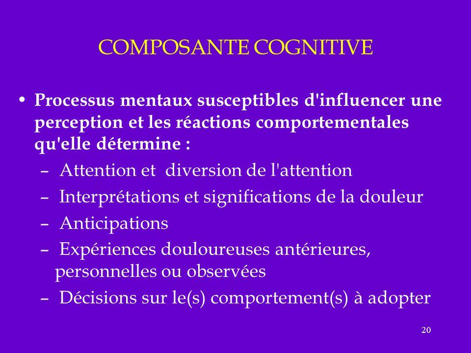 COMPOSANTE COGNITIVE Processus mentaux susceptibles d influencer une perception et les réactions comportementales qu elle détermine :
