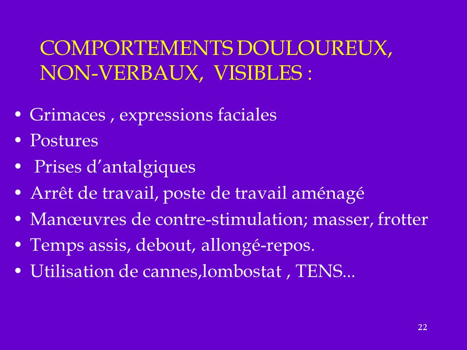 COMPORTEMENTS DOULOUREUX, NON-VERBAUX, VISIBLES :