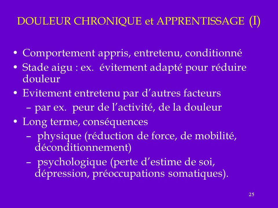 DOULEUR CHRONIQUE et APPRENTISSAGE (I)