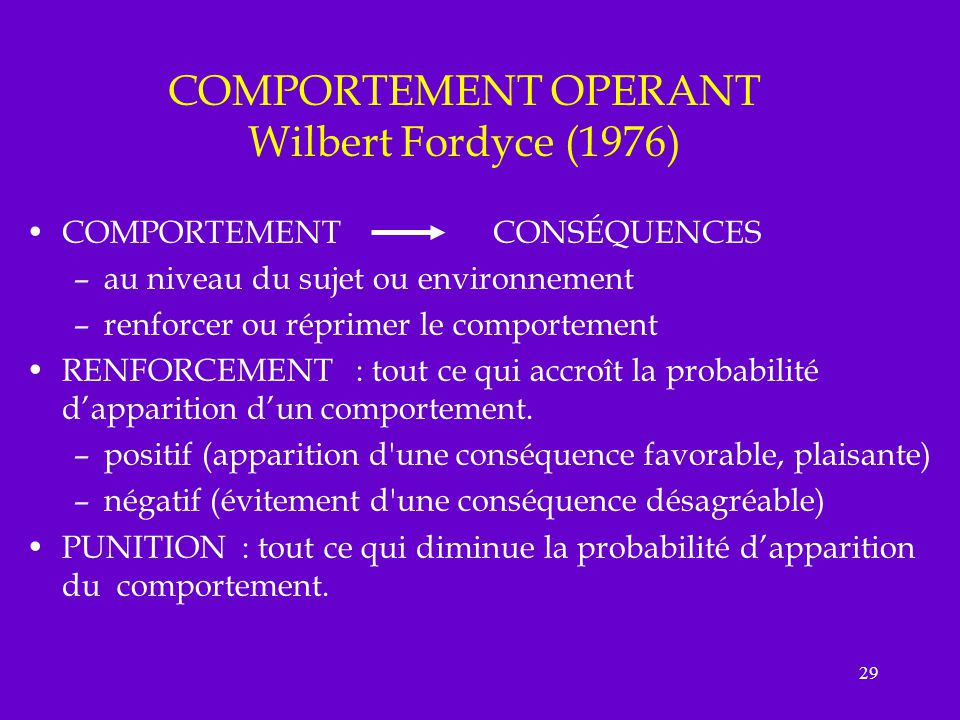 COMPORTEMENT OPERANT Wilbert Fordyce (1976)