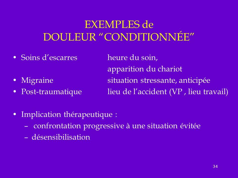 EXEMPLES de DOULEUR CONDITIONNÉE