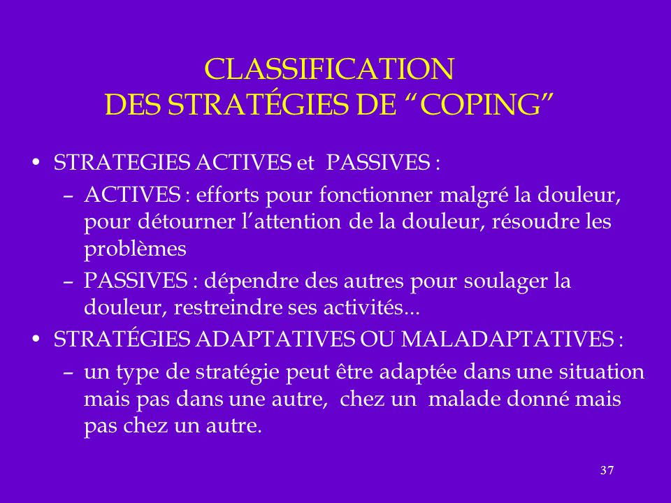 CLASSIFICATION DES STRATÉGIES DE COPING