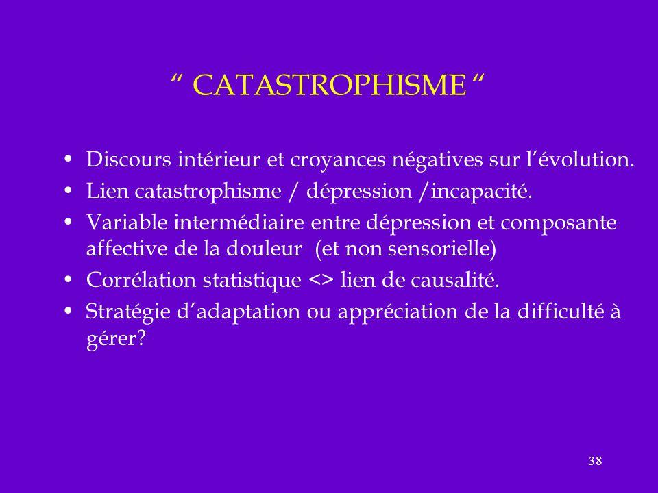 CATASTROPHISME Discours intérieur et croyances négatives sur l'évolution. Lien catastrophisme / dépression /incapacité.