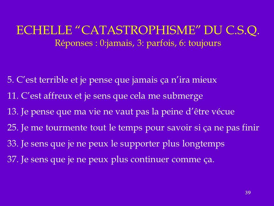 ECHELLE CATASTROPHISME DU C. S. Q