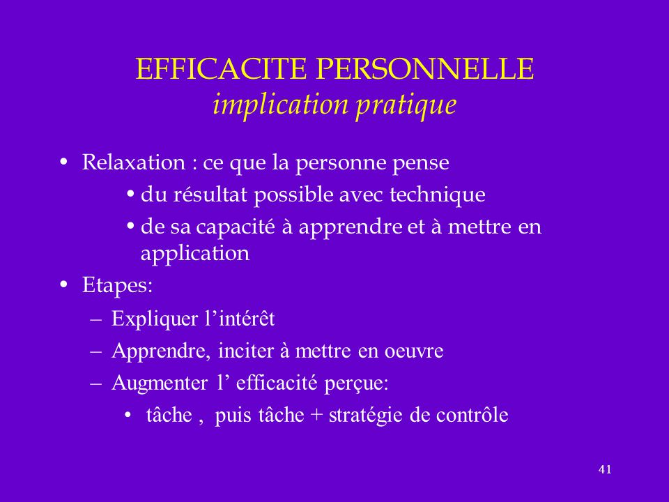 EFFICACITE PERSONNELLE implication pratique