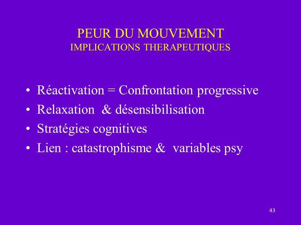 PEUR DU MOUVEMENT IMPLICATIONS THERAPEUTIQUES