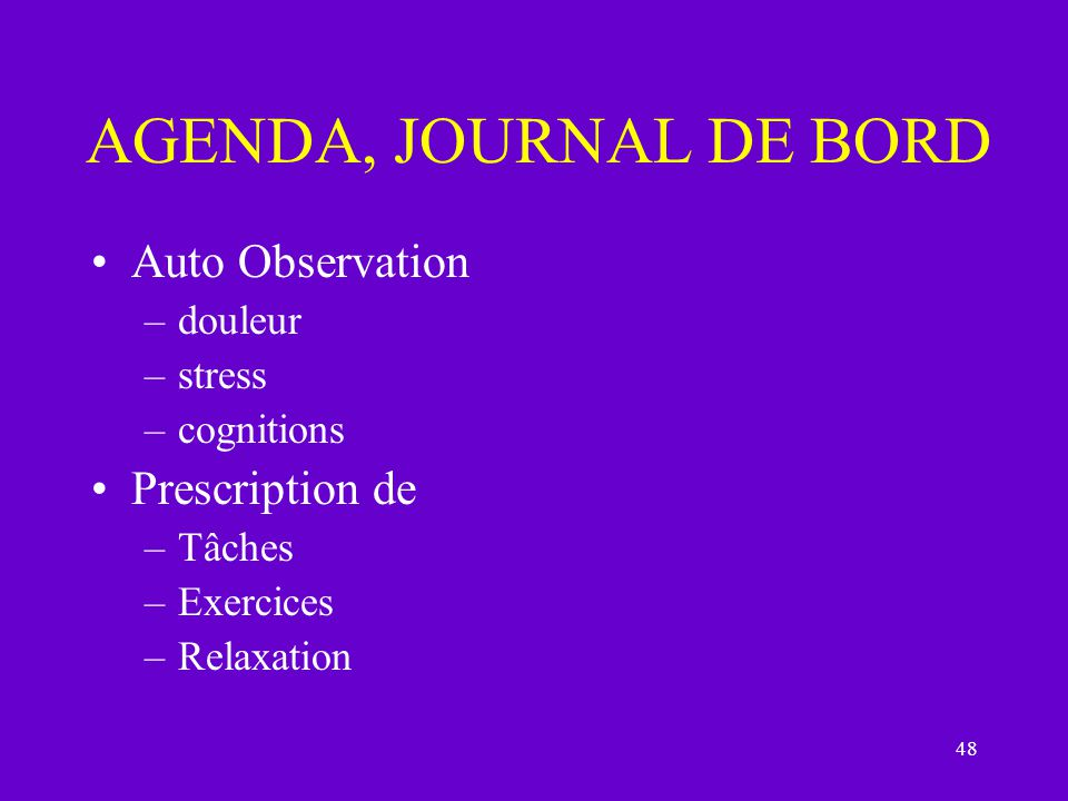 AGENDA, JOURNAL DE BORD Auto Observation Prescription de douleur