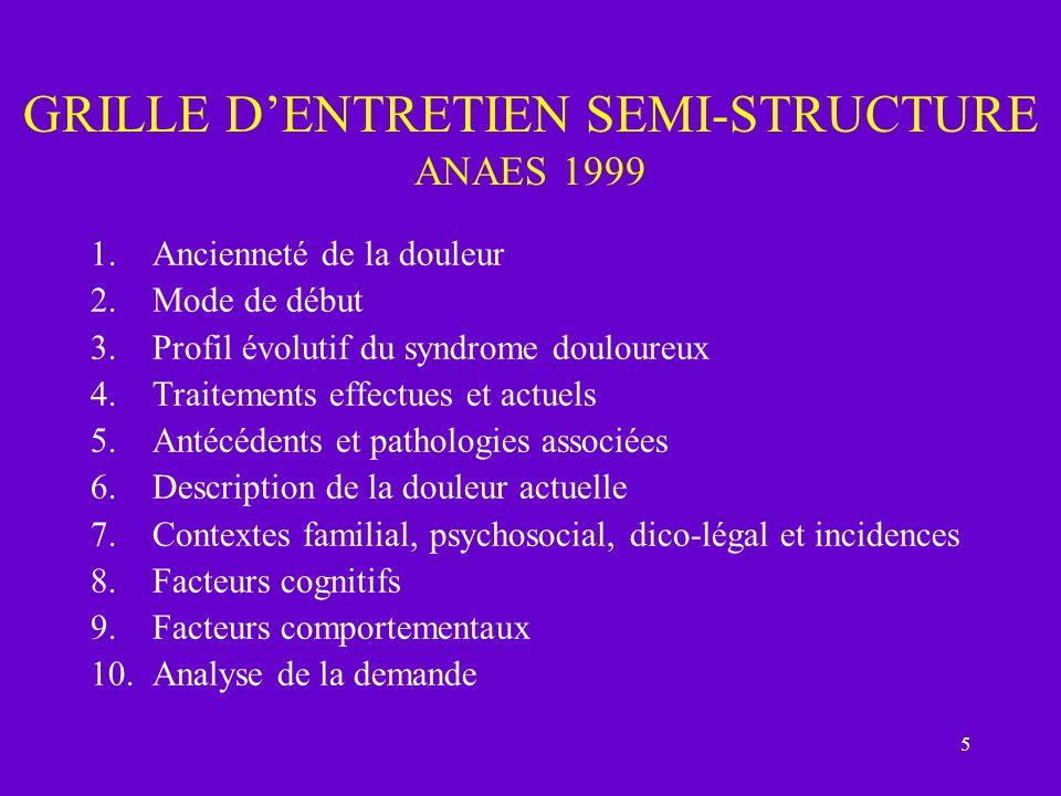 GRILLE D'ENTRETIEN SEMI-STRUCTURE ANAES 1999