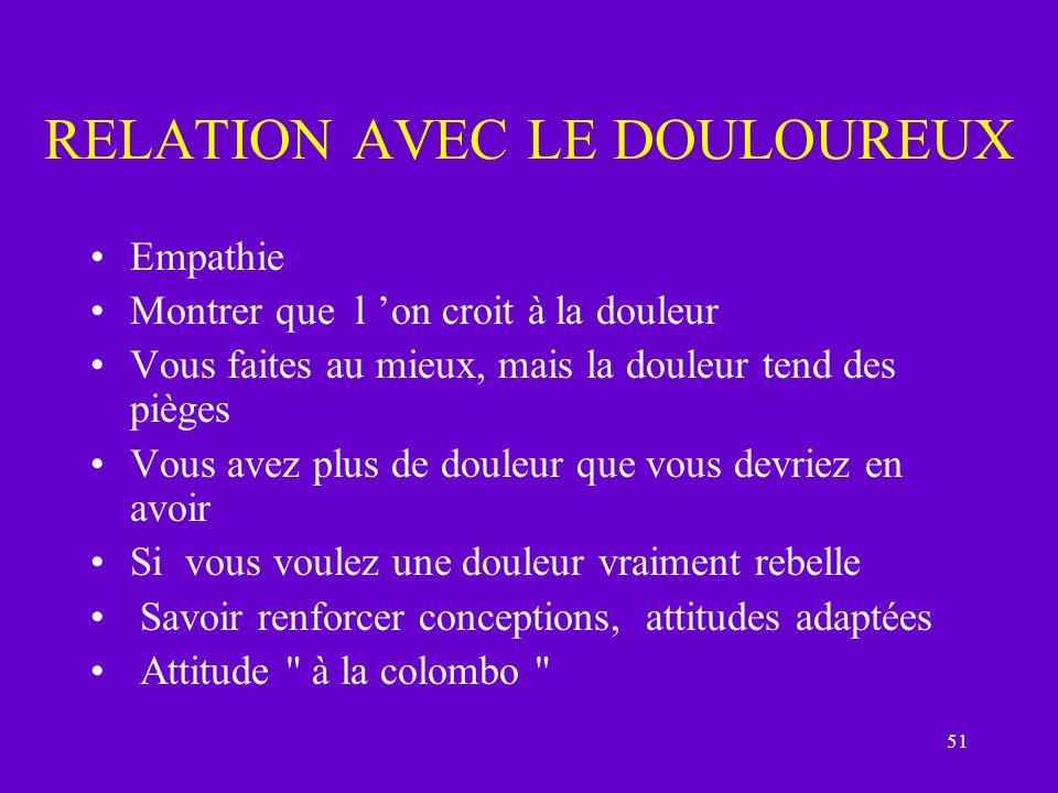 RELATION AVEC LE DOULOUREUX