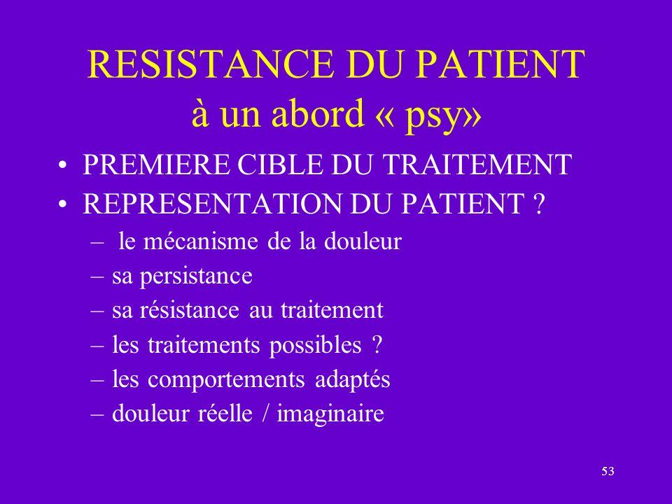 RESISTANCE DU PATIENT à un abord « psy»