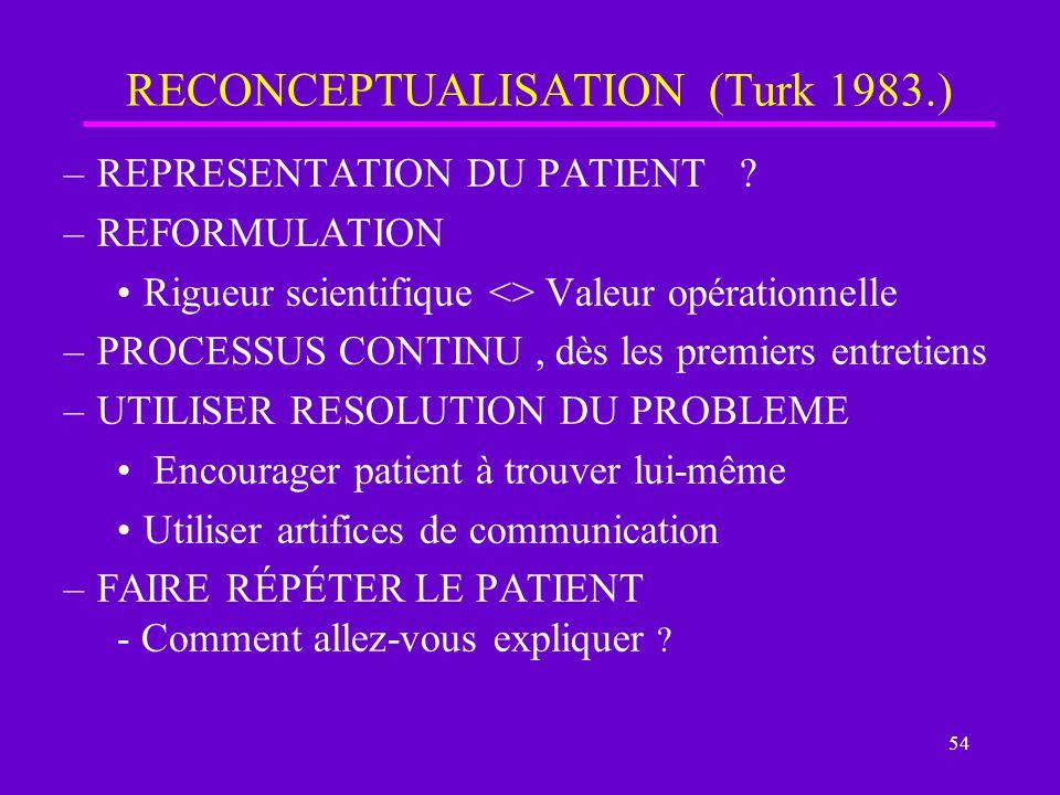 RECONCEPTUALISATION (Turk 1983.)