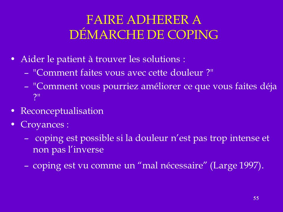 FAIRE ADHERER A DÉMARCHE DE COPING