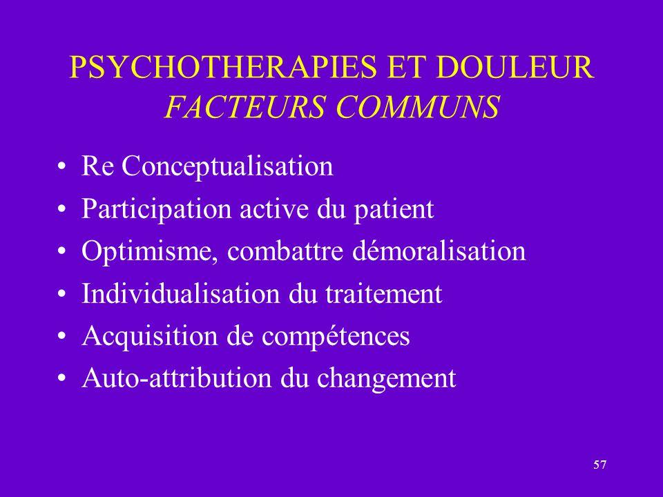 PSYCHOTHERAPIES ET DOULEUR FACTEURS COMMUNS