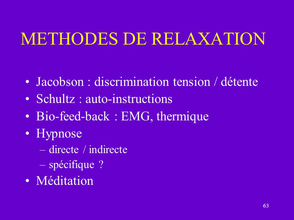 METHODES DE RELAXATION