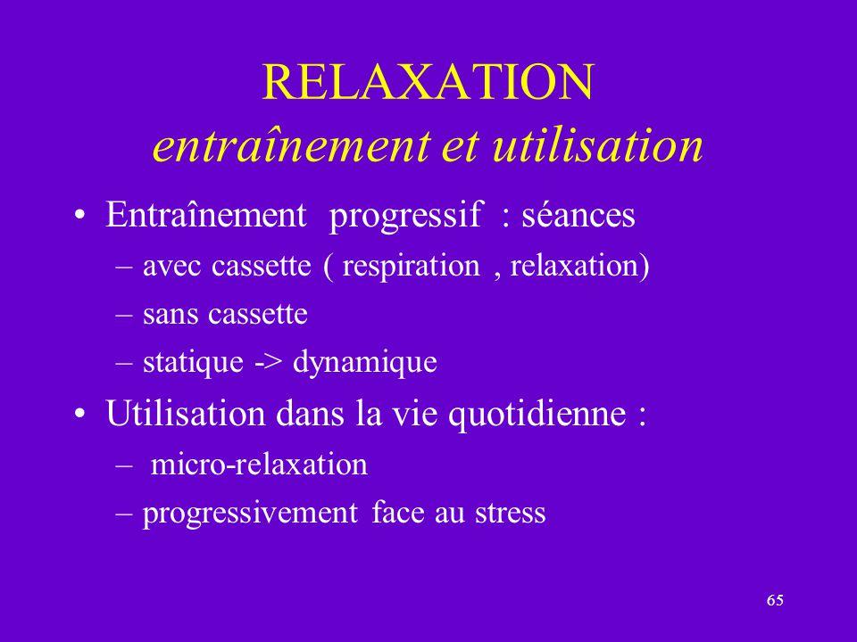 RELAXATION entraînement et utilisation