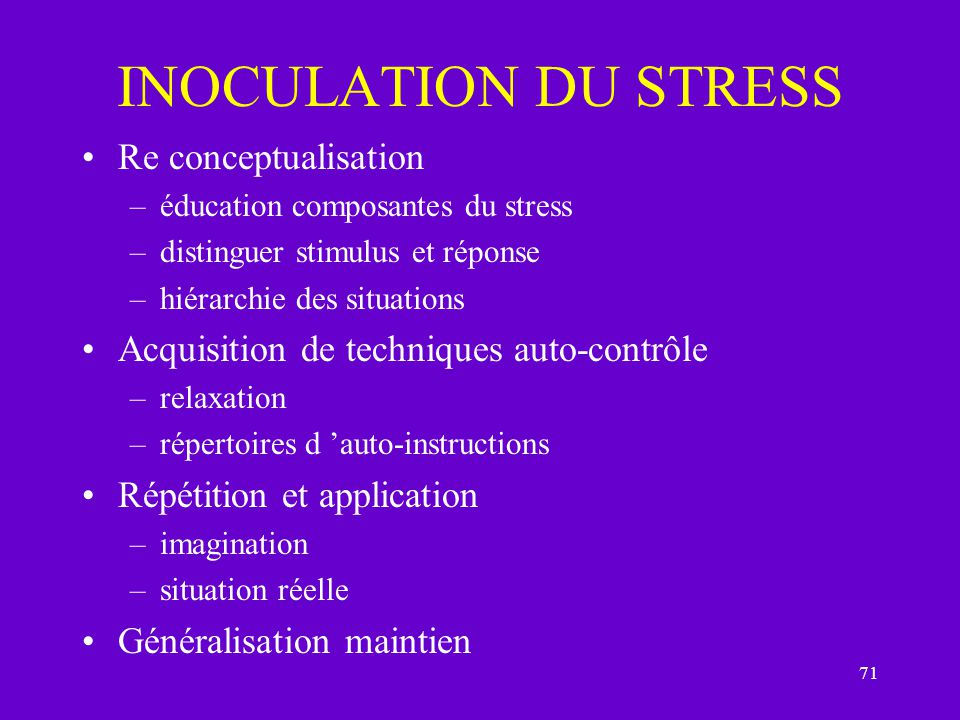 INOCULATION DU STRESS Re conceptualisation