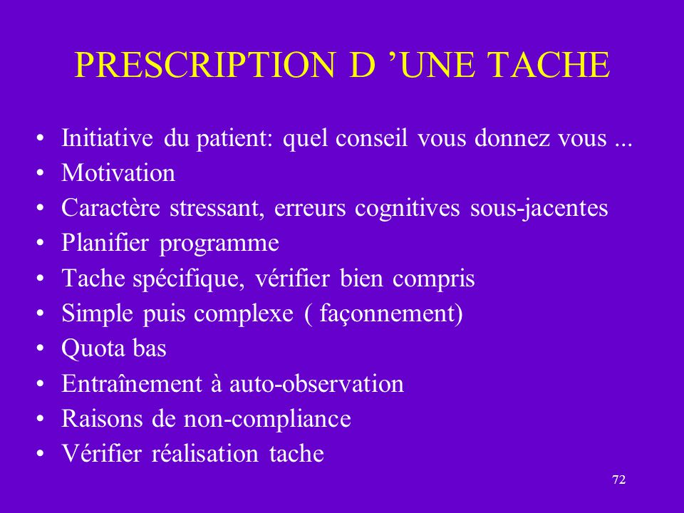 PRESCRIPTION D 'UNE TACHE