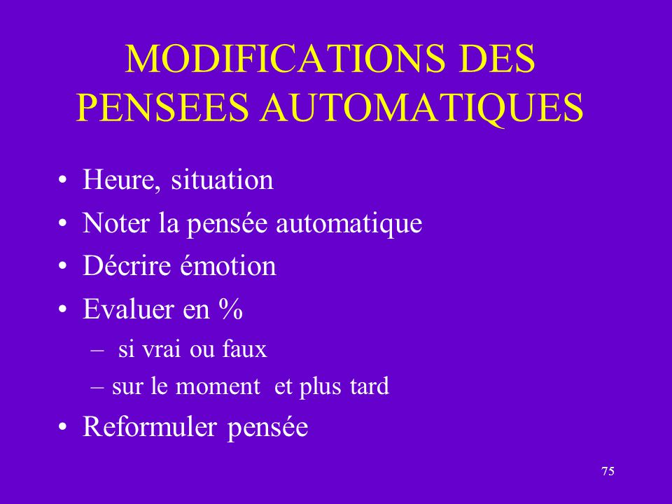MODIFICATIONS DES PENSEES AUTOMATIQUES