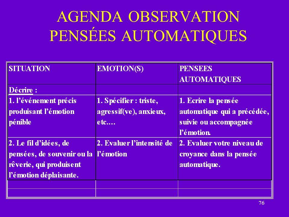 AGENDA OBSERVATION PENSÉES AUTOMATIQUES