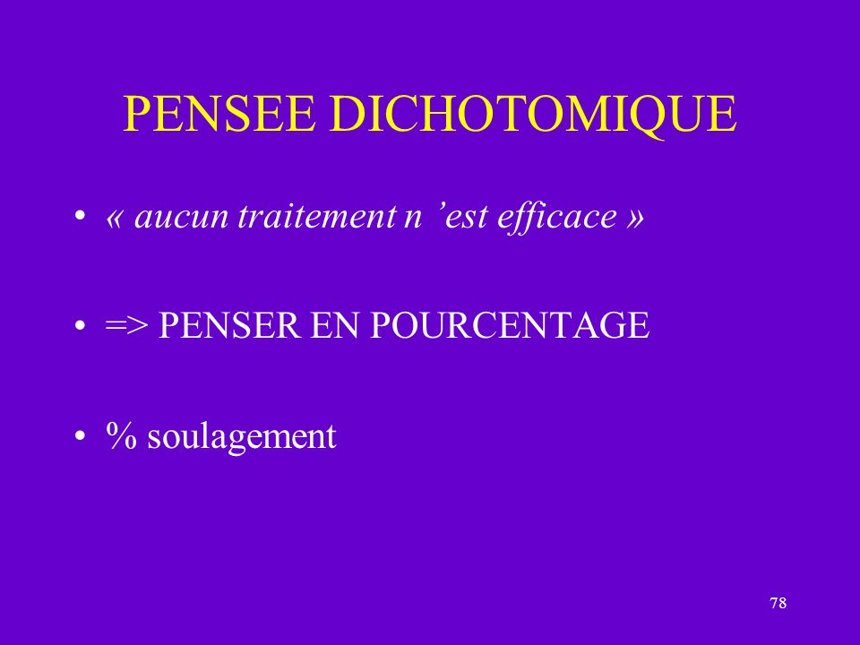 PENSEE DICHOTOMIQUE « aucun traitement n 'est efficace »