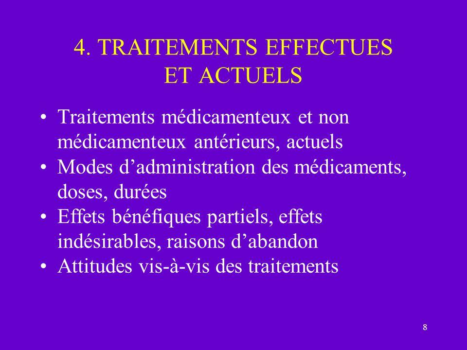 4. TRAITEMENTS EFFECTUES ET ACTUELS
