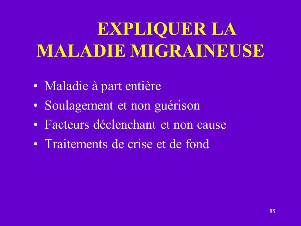 EXPLIQUER LA MALADIE MIGRAINEUSE