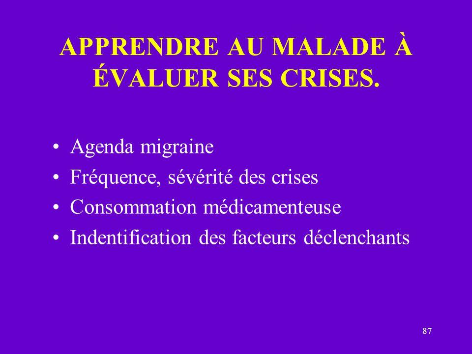 APPRENDRE AU MALADE À ÉVALUER SES CRISES.
