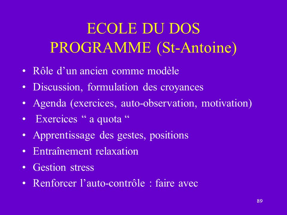 ECOLE DU DOS PROGRAMME (St-Antoine)