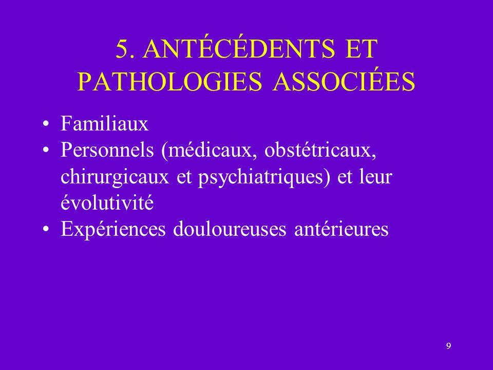 5. ANTÉCÉDENTS ET PATHOLOGIES ASSOCIÉES