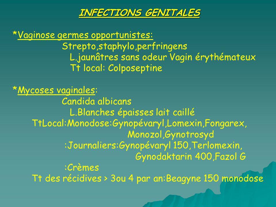 INFECTIONS GENITALES *Vaginose germes opportunistes: Strepto,staphylo,perfringens. L.jaunâtres sans odeur Vagin érythémateux.
