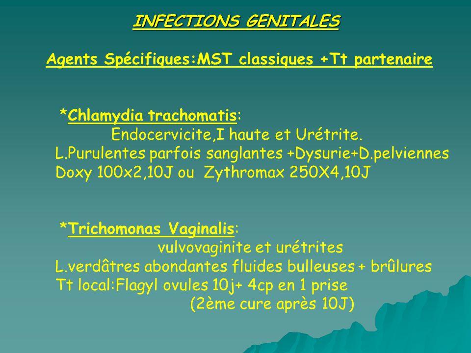 INFECTIONS GENITALES Agents Spécifiques:MST classiques +Tt partenaire. *Chlamydia trachomatis: Endocervicite,I haute et Urétrite.