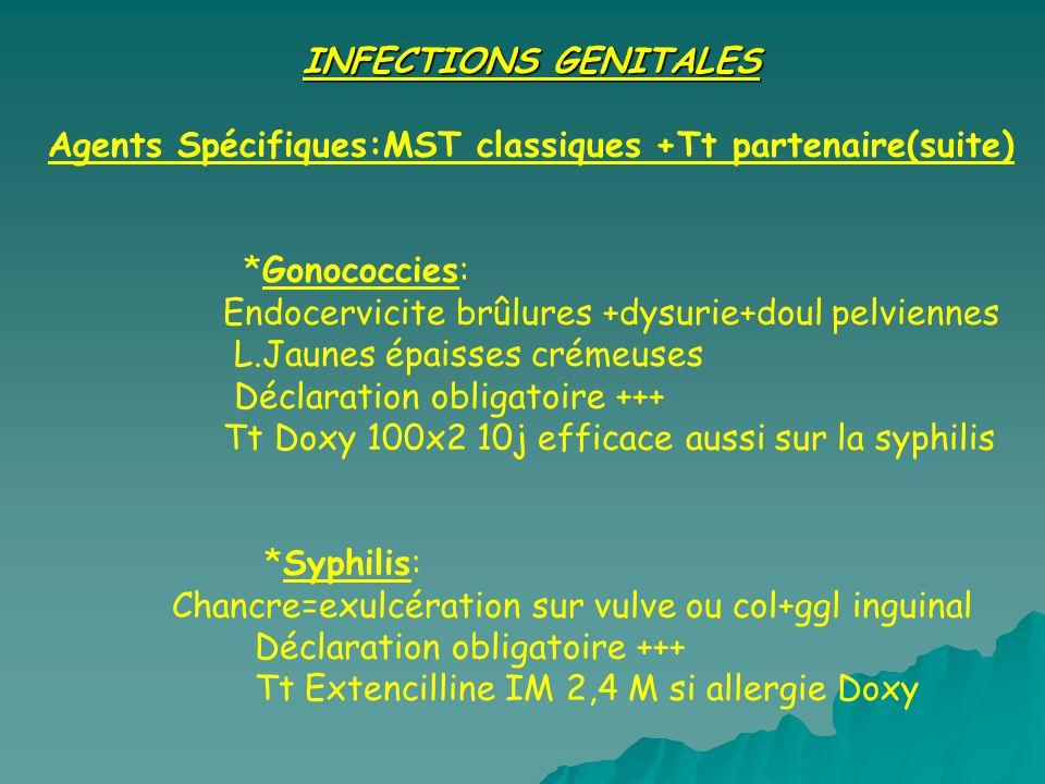 INFECTIONS GENITALES Agents Spécifiques:MST classiques +Tt partenaire(suite) *Gonococcies: Endocervicite brûlures +dysurie+doul pelviennes.