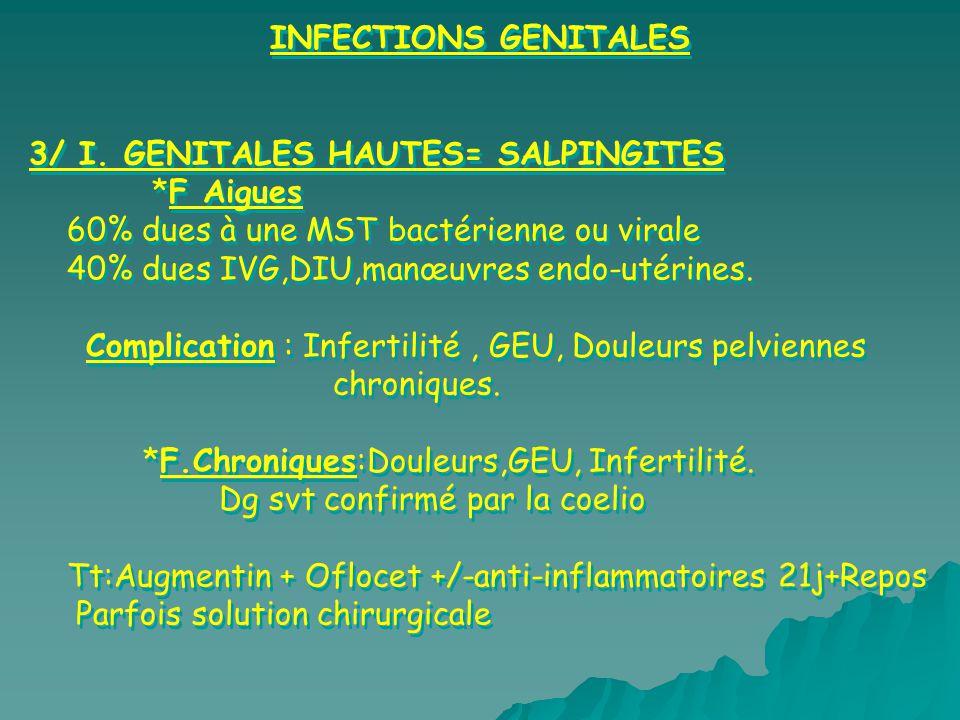 INFECTIONS GENITALES 3/ I. GENITALES HAUTES= SALPINGITES. *F Aigues. 60% dues à une MST bactérienne ou virale.