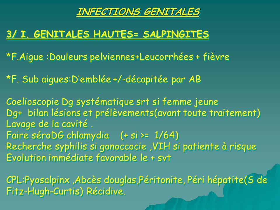 INFECTIONS GENITALES 3/ I. GENITALES HAUTES= SALPINGITES. *F.Aigue :Douleurs pelviennes+Leucorrhées + fièvre.