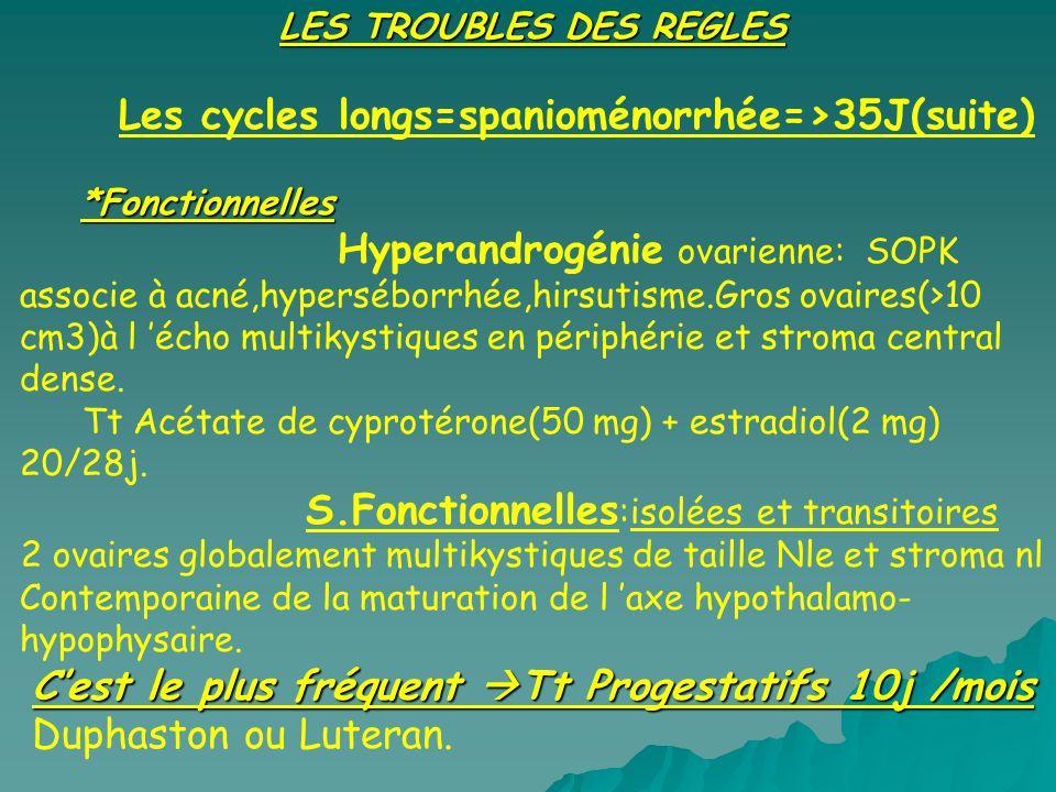 Les cycles longs=spanioménorrhée=>35J(suite)