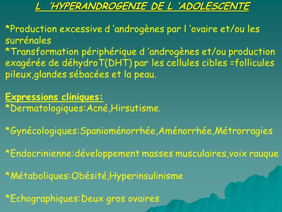 L 'HYPERANDROGENIE DE L 'ADOLESCENTE